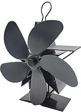 Log Burner Fireplace Fan 5 Blades, Heat Operated