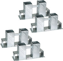 Log holder brackets, galvanised, 4 piece - silver