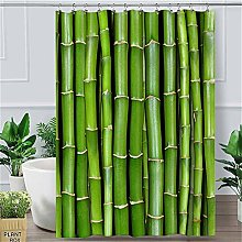 Logo Shower Curtain Green Curtain With Hooks For