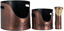 Logs & Kindling Buckets & Matchstick Holder with