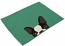 LOKIH Cotton Linen Placemats, 4 pcs Cute Dog Cat