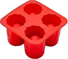 LOKOER Silicone Shot Glass Mold 4-Cup Ice Cube
