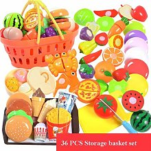 LON 36PCS Plastic Kitchen Toy Shopping Cart Set