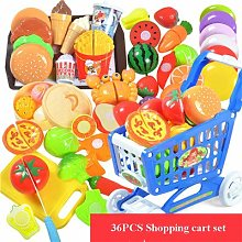 LON 36PCS Plastic Kitchen Toy Shopping Cart Set
