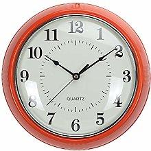 LONBUYS Retro Wall Clock 9.8 Inch Orange Kitchen