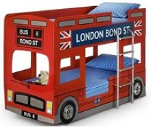 London Bus Modern Style Children Bunk Bed In Red