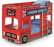 London Bus Red Wooden Kids Theme Bunk Bed Frame -