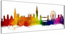 London City Skyline Canvas Wall Art Print - Multi