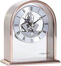 London Clock Arch Top Skeleton Mantel Clock, Rose