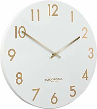 London Clock Chalk Wall Clock, White, 40 x 40 x 3cm