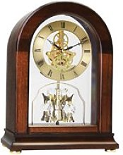 London Clock - Dark Walnut Finish, Arch Top Mantel