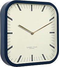 London Clock Square Navy Blue Wall Clock, 30 x 30