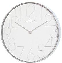 London Clock White circular stainless steel cased