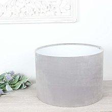 London Dove Grey Velvet Drum Lampshade (25 cm
