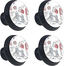 London Icons Doodles Drawing 4PCS Cabinet Knobs,