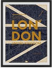 London Map Framed Print, 65.5 x 49.5cm, Blue