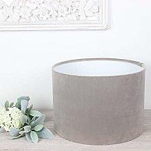 London Warm Grey Velvet Drum Lampshade (40 cm