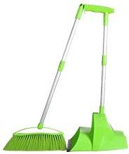 Long Handle Dustpan & Broom Green, Self