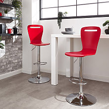 Long Island Red Wooden Gas-lift Bar Stools In Pair