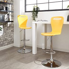 Long Island Yellow Wooden Gas-lift Bar Stools In