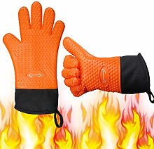 Long Silicone Grill Gloves - Heat Resistant Oven