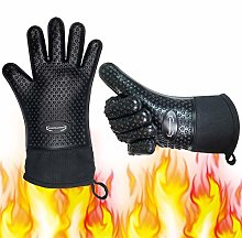 Long Silicone Grill Gloves Heat Resistant Oven