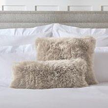 Long Wool Sheepskin Cushion , Mink, Bolster