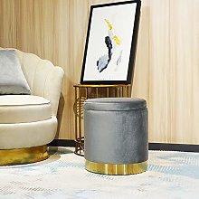LONGITUDE 41cm Tall Ottoman Footstool,Velvet Round