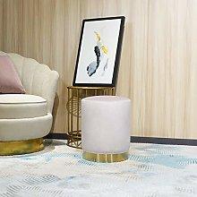 LONGITUDE 45cm Tall Ottoman Footstool,Velvet Round
