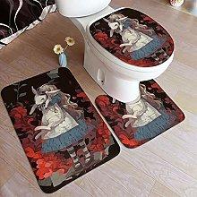 LONSANT 3 Piece Non Slip Bath Mat Set,Alice In