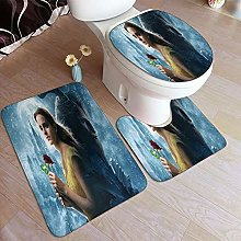 LONSANT 3 Piece Non Slip Bath Mat Set,Beauty And