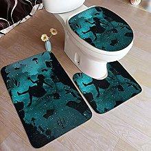 LONSANT 3 Piece Non Slip Bath Mat Set,Cheshire Cat