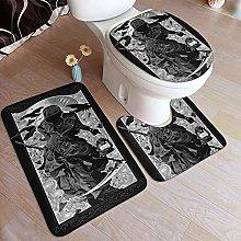 LONSANT 3 Piece Non Slip Bath Mat Set,Grim Reaper
