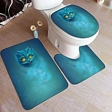 LONSANT 3 Piece Non Slip Bath Mat Set,Magic Alice