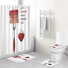 LONSANT Shower Curtain Sets with Non Slip Rugs