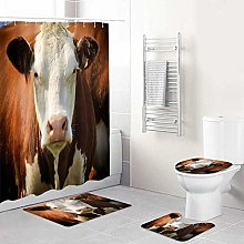 LONSANT Shower Curtain Sets with Rugs Toilet Lid