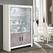 Lorenz Display Cabinet Marble Effect White High