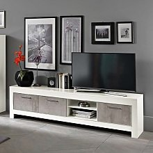 Lorenz Large TV Stand In Marble Effect And White
