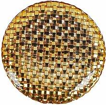 Lorenzon Gift Saucer Gold Glass Dis. Weave, unique