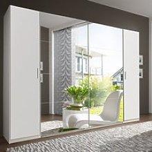 Lotto Mirrored Sliding Doors Wardrobe In White