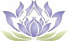 Lotus Flower Stencil - (size 5w x 3h) Reusable