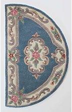Lotus Premium Aubusson Blue Half Moon Rug 67x127cm