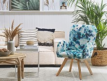 Lounge Chair Blue Fabric Upholstery Floral Pattern