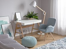Lounge Chair Blue Fabric Upholstery Modern Club