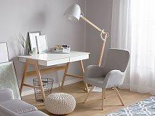 Lounge Chair Grey Fabric Upholstery Modern Club