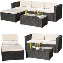Lounge Garden Set Sofa Table Cushion black