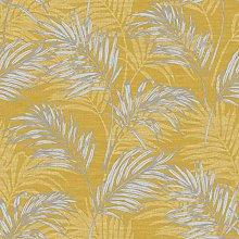 Lounge Palm Wallpaper Metallic Ochre