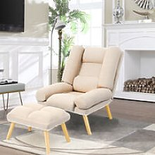 Lounge Recliner Chair And Footstool, Beige