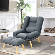 Lounge Recliner Chair And Footstool, Dark Grey