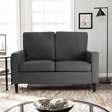 Lounge Settee Upholstered Linen Fabric Sofa, 2